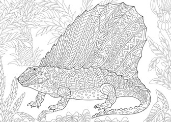 Stylized dimetrodon dinosaur, fossil reptile of the Permian period. Freehand sketch for adult anti stress coloring book page with doodle and zentangle elements.
