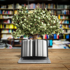 Black pc with money tree 3d render Success knowlage concept