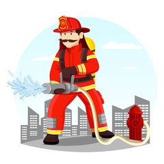 Firefighter in uniform spraying water with hose