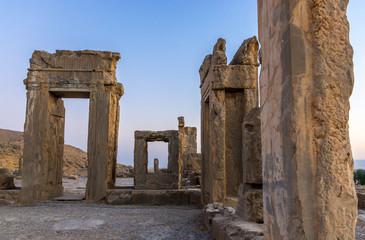 Ruins of Hadish Palace of Xerxes I in Persepolis ancient city in Iran
