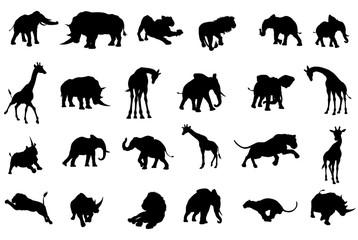 African Safari Animals Silhouettes