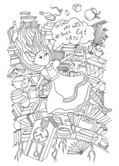 Alice in Wonderland. Alice is falling down into the rabbit hole coloring page. Black and white graphics art. Vintage hand drawn vector illustration