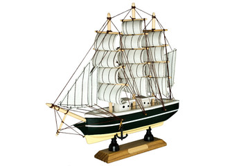 Ship Sailboat Wooden Model on a White Background