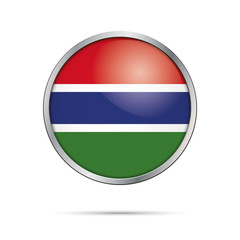 Vector Gambian flag button. The Gambia flag in glass button style with metal frame.