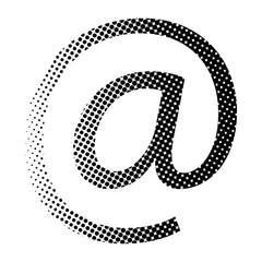 at e-mail sign halftone  vector symbol icon design.