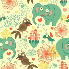 Pattern, background seamless baby elephant, crow, and beetle