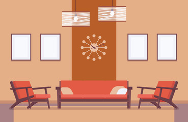 Retro interior with sofa, frames for copyspace and mockup