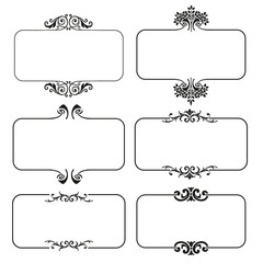 Set of calligraphic frames vector illustration
