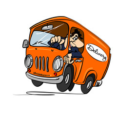 Cartoon bus with a driver. The concept of delivery.