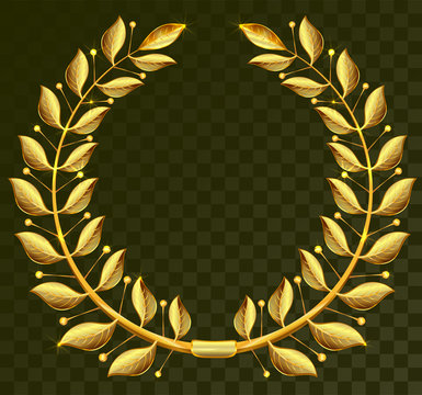 Golden laurel wreath on dark transparent background
