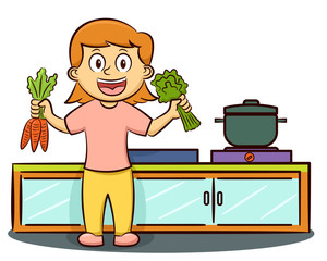 Young Girl in the Kitchen Prepare Vegetables for Cooking Cartoon Illustration