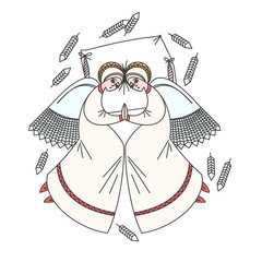 Cute scene with angels on the pillow. White background.