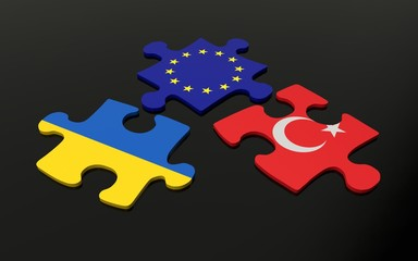 Puzzle with Europe, Turkey and Ukraine flags
