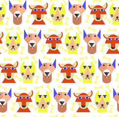 Dogs head pattern. Fun pattern for baby. Happy animals seamless pattern background. Cartoon style animals head. Dogs head
