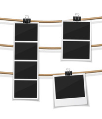 vector photobooth and  photo hanged on a rope. Instant retro photos on a thread. Remember the moment