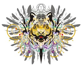 Grunge tiger head. Tribal tiger head against the background of gray eagle feathers and colorful floral splashes