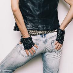 Stylish Model Rock Urban fashion jeans, vest, gloves accessories