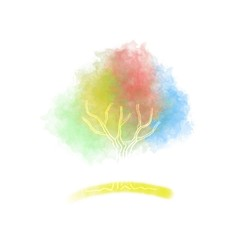 Four Season Colours Tree Watercolor Logo Symbol