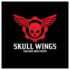 Skull wings logo design template ,Vector illustration