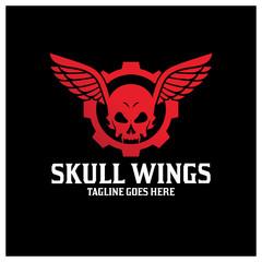 Skull wings logo design template ,Vector illustration
