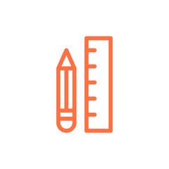 Ruler and Pencil Icon Illustration Isolated Vector Sign Symbol