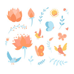 Doodle cartoon vector elements with birds, flowers, lotus and floral