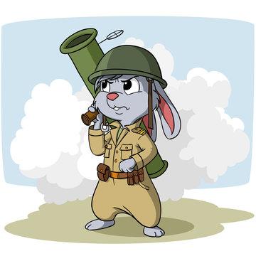 Cartoon bunny with bazooka