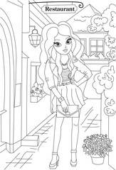 Fashion coloring book page.