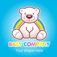 Goods for kids top store vector logo. Toy animated baby bear sitting under rainbow. Toys shop ad, book of tales character. Greeting card for Teddy holidays concept. Children's store branding sign.