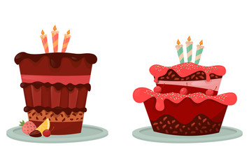 Cakes with lemon and berry, candle icon