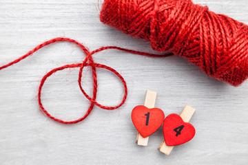 Valentines day decoration on grey background