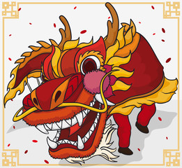 Traditional Dragon Dance For Chinese New Year Celebration, Vector Illustration
