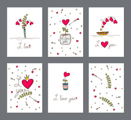 Set of cards with heart flower in pot. Love card. Illustration vector