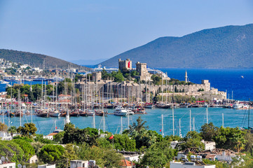 Saint Peter Castle (Bodrum Kalesi) and cityscape of Bodrum, Turkey