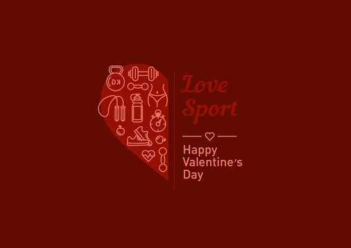 Sale of sports equipment, valentines day