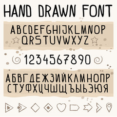 Hand drawn font with latin and cyrillic (Russian) symbols. Font with numbers. English and Russian alphabets. Script fonts. lettering vector illustration