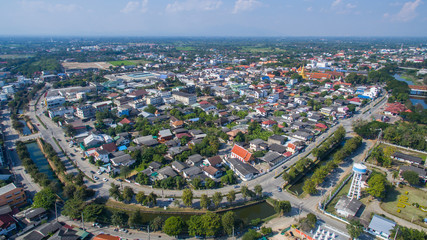 Aerial view of lamphun city,north in thailand