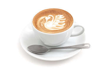 Wall Mural - Coffee cup of latte art in a beautiful swan shape on white background isolated