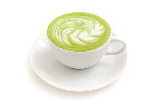 Green Tea Matcha latte in a cup on white background isolated