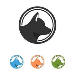 Head Dog Logo Circle Silhouette Design Vector