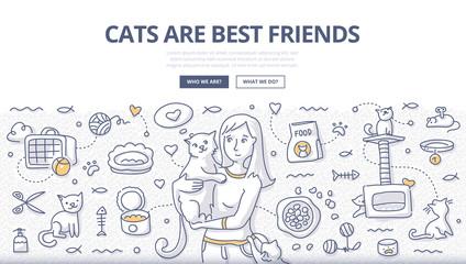 Cats Care Doodle Concept