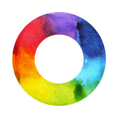 7 color of chakra symbol concept, round circle, watercolor painting