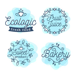Vector set of eco badges with text. Logo blue watercolor templat