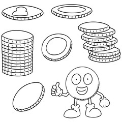 vector set of money cartoon