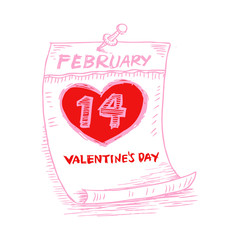 Valentines Day, February 14 on calendar. Sketchy style.