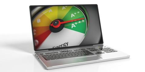 Energy efficiency concept on a laptop. 3d illustration