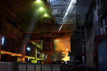Industrial interior with color lighting