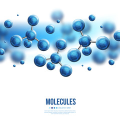 Molecular structure with blue spherical particles