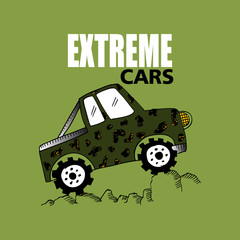 Extreme cars lettering. Cartoon style.