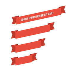 Red web ribbon banners set